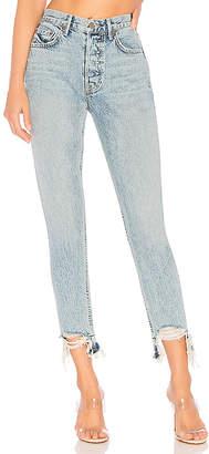 GRLFRND Karolina High-Rise Chewed Hem Jean.