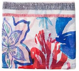 Desigual Women's Foulard_blue Flower Scarf,(Manufacturer Size: U)