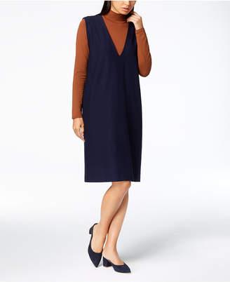 Eileen Fisher Washable Crepe Deep-V-Neck Shift Dress, Regular & Petite