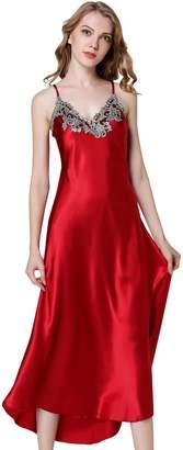 Avitalk Women's Nightdress Lace Satin Nightgowns Sexy Lingerie Full Slip Nightie Gown Soft Breathable Long Chemise Sleepwear M