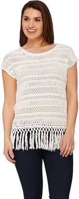 C. Wonder Knit Crochet Extended Shoulder Top w/ Tassel Trim