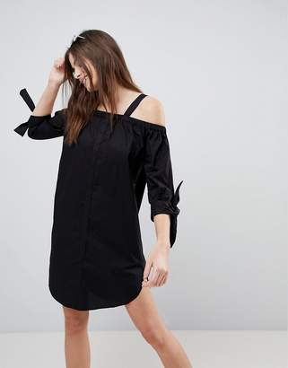 Monki Cold Shoulder Beach Shirt Dress