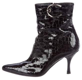 Stuart Weitzman Patent Leather Pointed-Toe Boots
