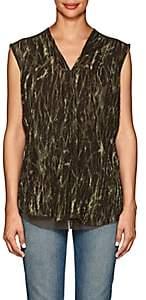 Pas De Calais Women's Shibori-Style Washed Blouse - Green