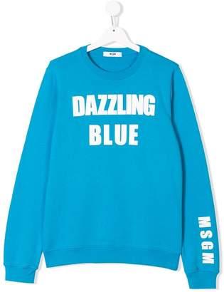 MSGM Kids slogan print sweatshirt