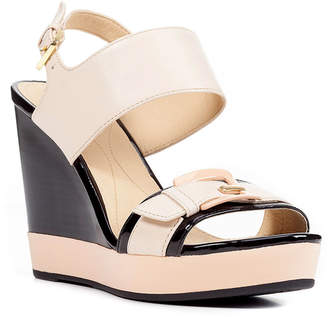 Geox Anira Leather Buckle Wedge Sandals