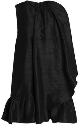 Paper London Cape-Effect Silk-Shantung Mini Dress