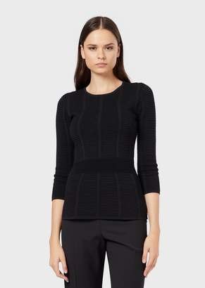 Emporio Armani Ottoman-Stitch Sweater With Three-Quarter Length Sleeves