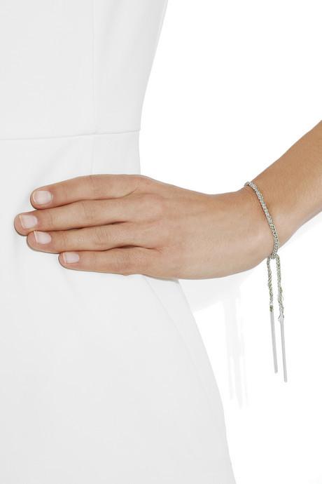 Carolina Bucci Lucky sterling silver and silk charm bracelet