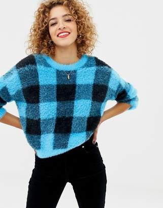 Asos DESIGN crew neck sweater in fluffy check