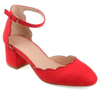 Brinley Co. Womens Faux Suede Ankle Strap Scalloped Pumps