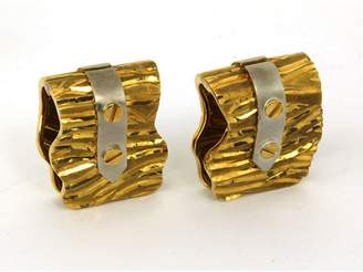 18K Yellow & White Gold Unique Design Men's Cufflinks