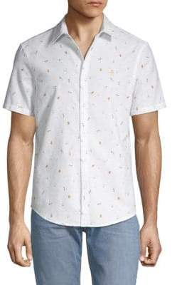 Original Penguin Slim-Fit Beer-Print Button-Down Shirt