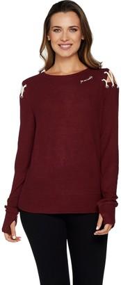 Peace Love World Comfy Knit Top w/ Shoulder Dtl & Affirmation