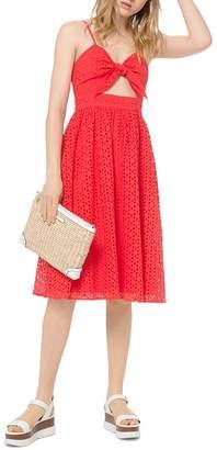MICHAEL Michael Kors Floral Eyelet Tie-Detal Midi Dress