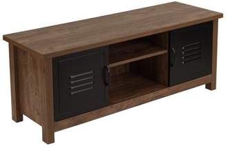 URBAN RESEARCH Flash Furniture New Lancaster Collection Crosscut Oak Wood Grain Finish Storage Bench with Metal Cabinet