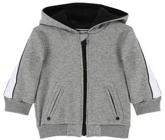 Givenchy Zip-Up Hooded Jacket w/ Logo Sleeves, Size 12-18 Months