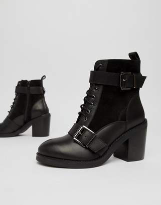 Office All Rise black chunky heeled two buckle boots