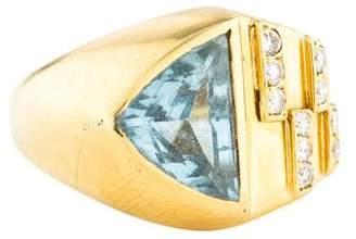 H.Stern 18K Aquamarine & Diamond Cocktail Ring
