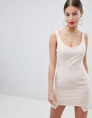 Missguided Peace And Love Stepped Hem Mini Dress