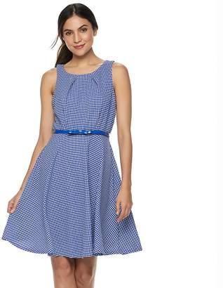 Elle Women's Gingham Fit & Flare Dress