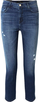 J Brand Ruby Cropped Distressed High-rise Slim-leg Jeans - Mid denim