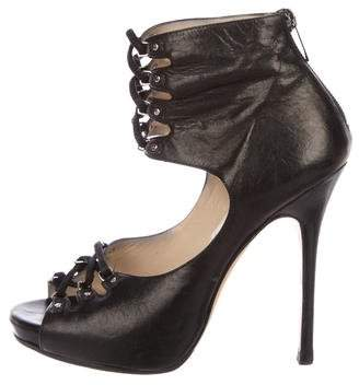 Jimmy Choo Leather Cutout Booties