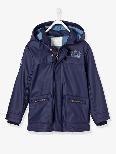 Boys' Parka - blue dark solid with design