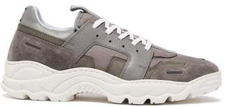 Ami Running Lucky 9 Suede And Mesh Trainers - Mens - Grey