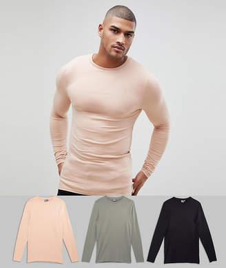 Asos Design DESIGN Tall muscle fit long sleeve t-shirt 3 pack multipack saving