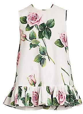 Dolce & Gabbana Women's Rose-Print Poplin Babydoll Top