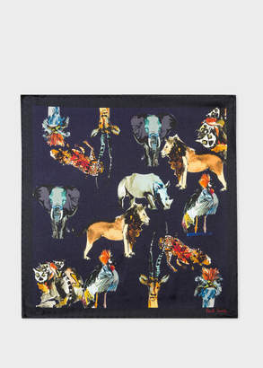 Paul Smith Men's Dark Navy 'Safari Animals' Print Silk Pocket Square
