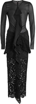 Proenza Schouler Floor Length Dress with Silk Chiffon and Lace