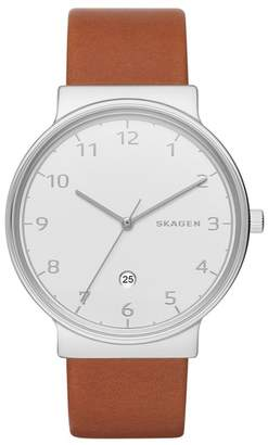 Skagen Men's Ancher Leather Strap Watch, 45mm