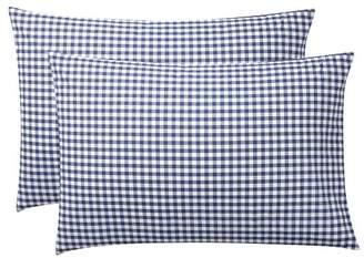 Pottery Barn Teen Classic Gingham Sheet Set, Extra Pillowcases, Set of 2, Twilight Navy