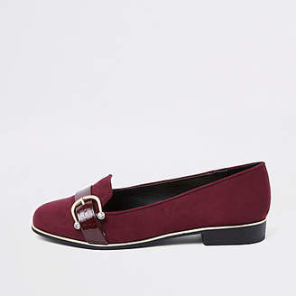 River Island Burgundy wide fit rhinestone buckle loafers