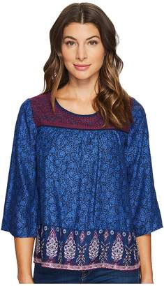Lucky Brand Embroidered Border Peasant Top Women's Long Sleeve Pullover