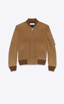 Saint Laurent Bomber Jacket In Tobacco Suede