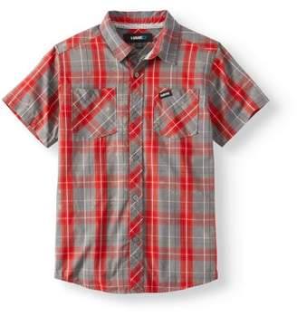 Tony Hawk Boy's Short Sleeve Button Front Plaid Shirt