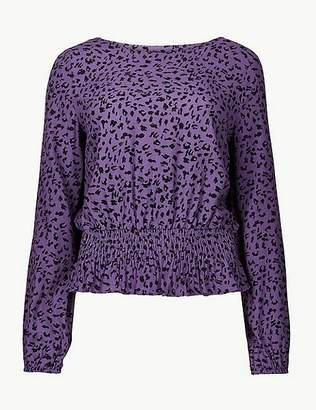 Marks and Spencer Animal Print Long Sleeve Blouse