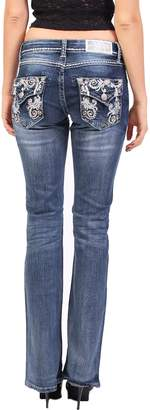 Grace in LA Women Faded Boot Cut Jeans with Silver Embroidery Floral Print and Rhinestones