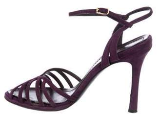 Casadei Suede Ankle Strap Sandals Purple Suede Ankle Strap Sandals