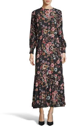 Label By 5twelve Floral-Print Crewneck Long-Sleeve Maxi Dress