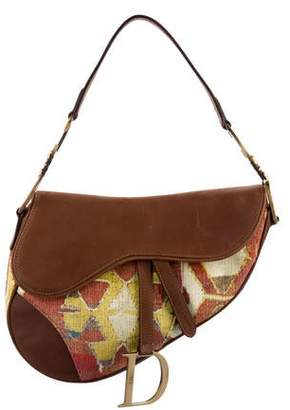 Christian Dior Corduroy Printed Saddle Bag