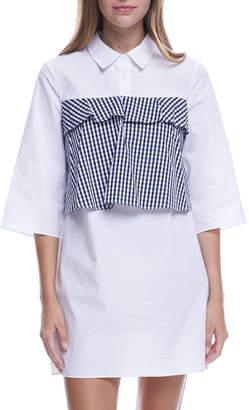 ENGLISH FACTORY Ruffled Gingham-Bodice Shirtdress