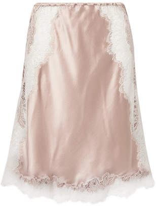 Carine Gilson Chantilly Lace-trimmed Silk-satin Slip Skirt - Blush