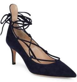 Gianvito Rossi Lace-Up Ankle Strap Pumps