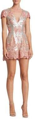 Dress the Population Sabrina Lace and Sequin Romper