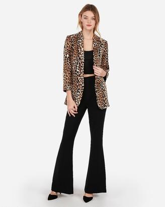Express Leopard Print Rolled Sleeve Boyfriend Blazer