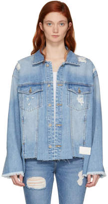 Sjyp Blue Denim Cut-Off Jacket